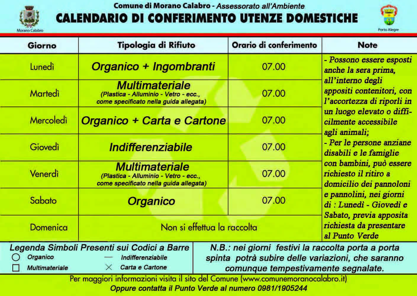 Calendario Differenziata.Raccolta Differenziata
